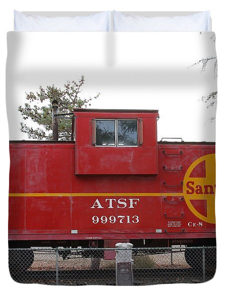Red Sante Fe Caboose Train . 7D10328 Duvet Cover by Wingsdomain Art and Photography