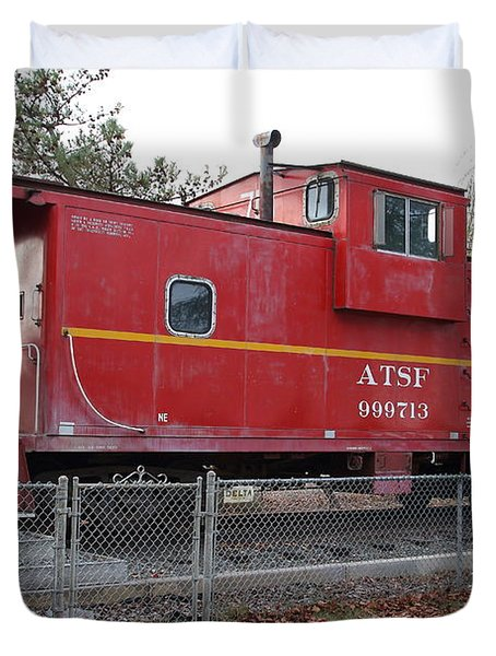 Red Sante Fe Caboose Train . 7D10329 Duvet Cover by Wingsdomain Art and Photography