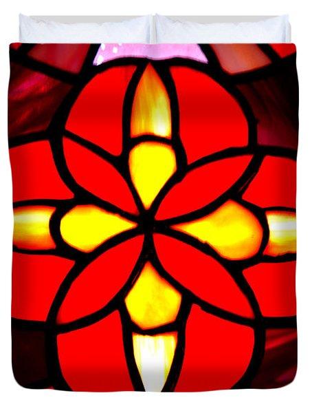 Red Stained Glass Duvet Cover by LeeAnn McLaneGoetz McLaneGoetzStudioLLCcom