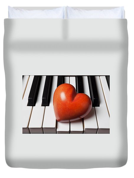 Red Stone Heart On Piano Keys Duvet Cover by Garry Gay