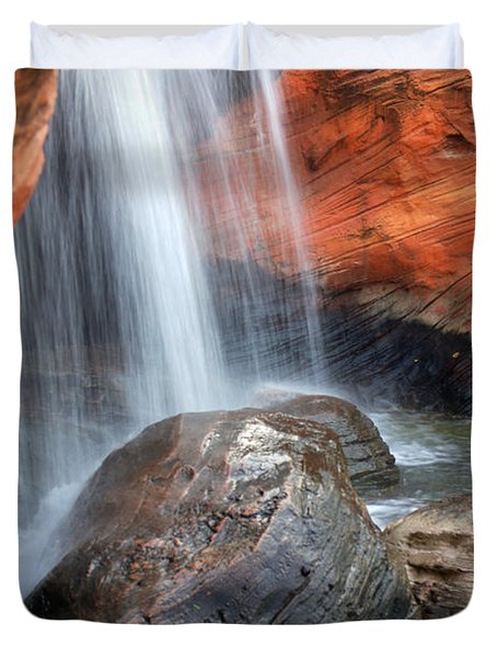 Red Waterfall Duvet Cover by Carlos Caetano