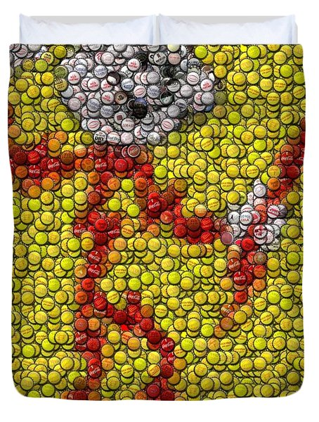 Reddy Kilowatt Bottle Cap Mosaic Duvet Cover by Paul Van Scott