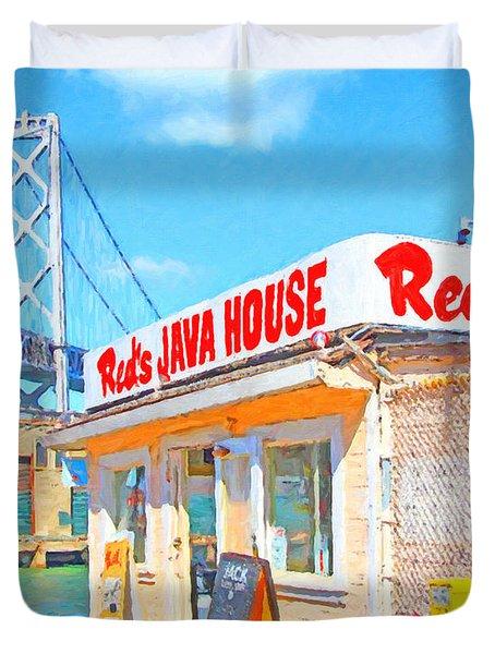 Reds Java House and The Bay Bridge at San Francisco Embarcadero Duvet Cover by Wingsdomain Art and Photography