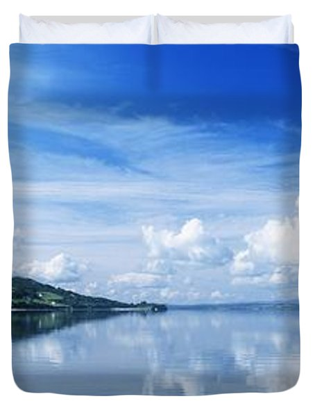Reflection Of Clouds In Water, Lough Duvet Cover by The Irish Image Collection
