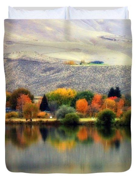 Reflection of Fall in Prosser Duvet Cover by Carol Groenen