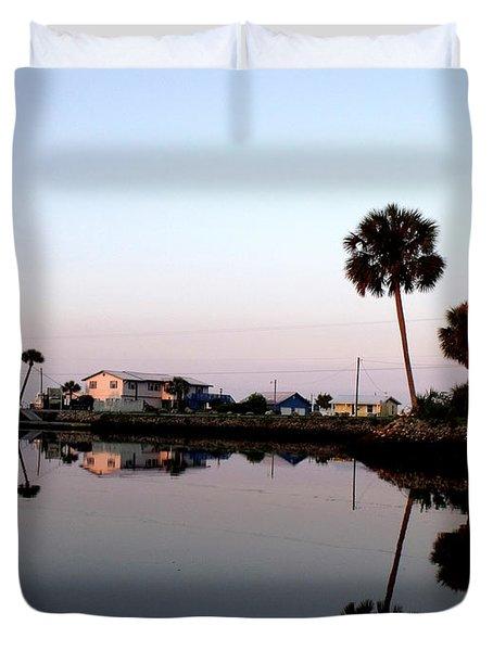 Reflections Of Keaton Beach Marina Duvet Cover by Marilyn Holkham