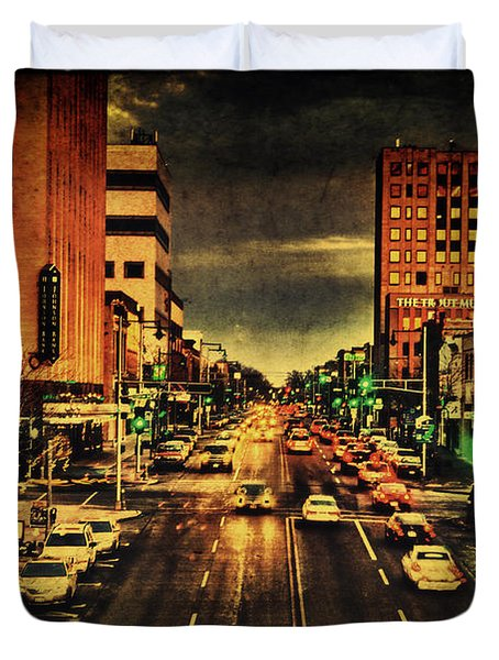 Retro College Avenue Duvet Cover by Joel Witmeyer