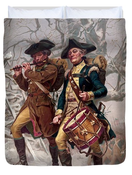 Revolutionary War Soldiers Marching Duvet Cover by War Is Hell Store