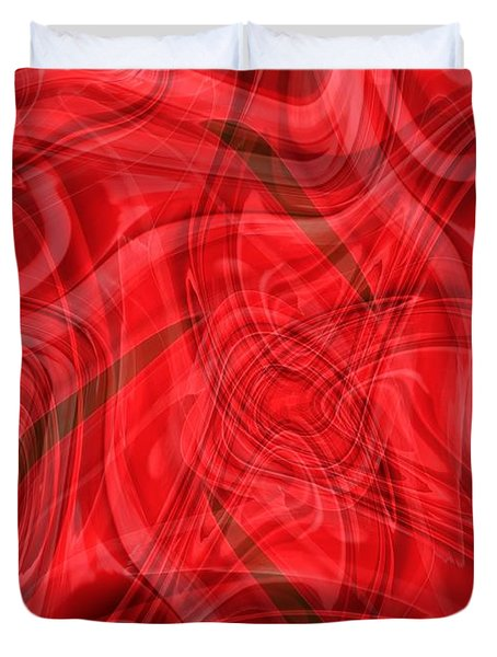 Ribbons Of Red Abstract Duvet Cover by Carol Groenen