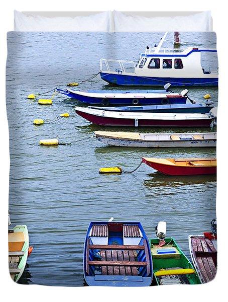 River boats on Danube Duvet Cover by Elena Elisseeva