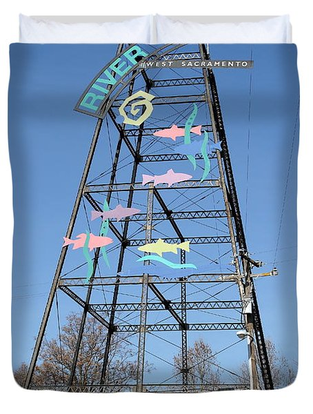 River Walk Tower Sign in West Sacramento California . 7D11400 Duvet Cover by Wingsdomain Art and Photography