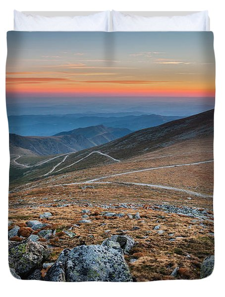 Road To Sunrise Duvet Cover by Evgeni Dinev