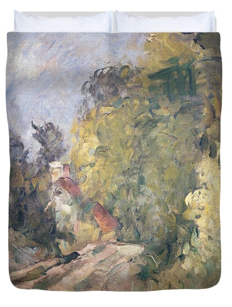Road Turning Under Trees Duvet Cover by Paul Cezanne