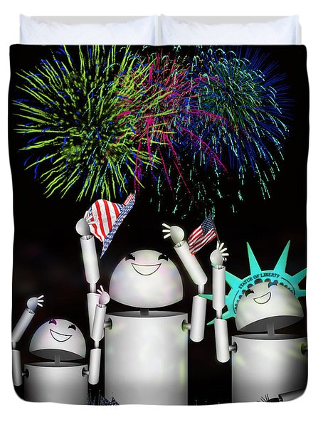 Robo-x9 and Family Celebrate Freedom Duvet Cover by Gravityx Designs