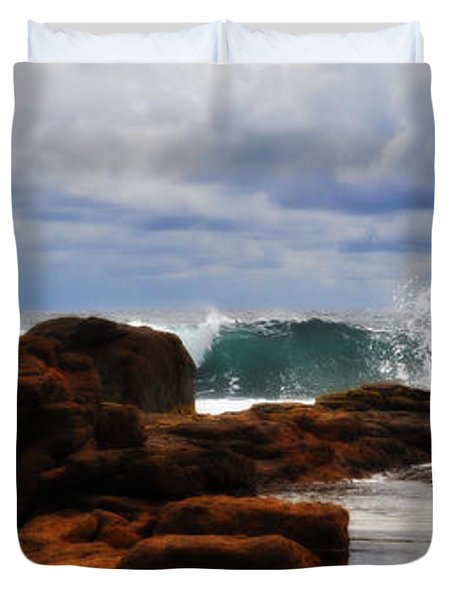 Rocks And Surf Duvet Cover by Phill Petrovic
