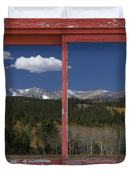 Rocky Mountain Autumn Red Rustic Picture Window Frame Photos Art Duvet Cover by James BO  Insogna
