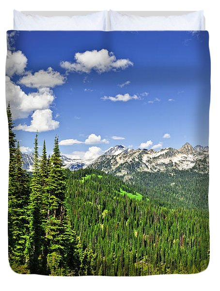 Rocky mountain view from Mount Revelstoke Duvet Cover by Elena Elisseeva