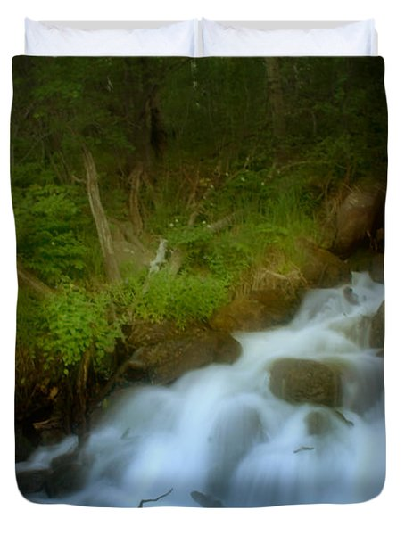 Rocky Mountain Waterfall Duvet Cover by Ellen Heaverlo