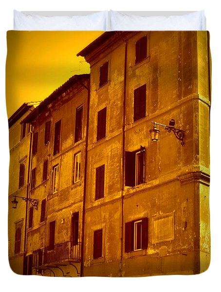 Roman Cafe With Golden Sepia 2 Duvet Cover by Carol Groenen