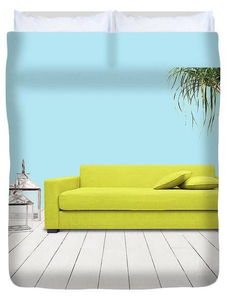 Room With Green Sofa Duvet Cover by Atiketta Sangasaeng