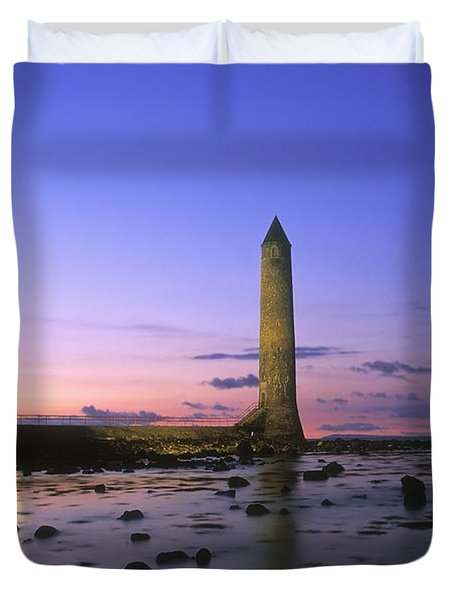 Round Tower, Larne, Co Antrim, Ireland Duvet Cover by The Irish Image Collection
