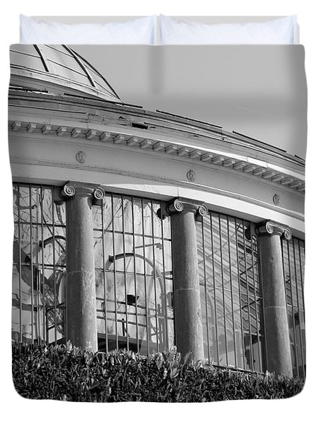 Royal Conservatory In Brussels - Black And White Duvet Cover by Carol Groenen
