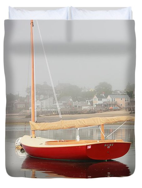 Ruby Red Catboat Duvet Cover by Roupen  Baker
