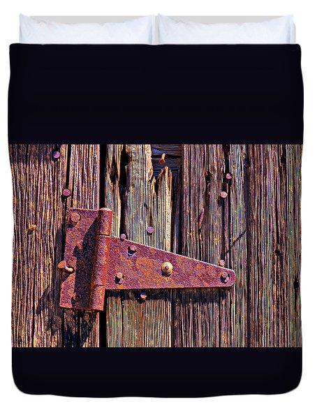 Rusty barn door hinge  Duvet Cover by Garry Gay