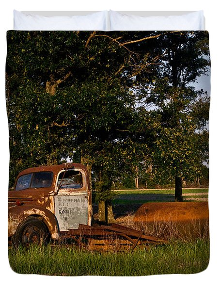 Rusty Truck and Tank Duvet Cover by Douglas Barnett