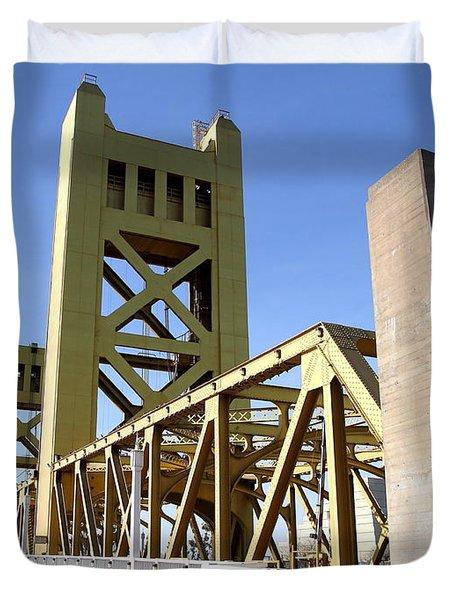 Sacramento California Tower Bridge Crossing The Sacramento Delta River . 7d11553 Duvet Cover by Wingsdomain Art and Photography