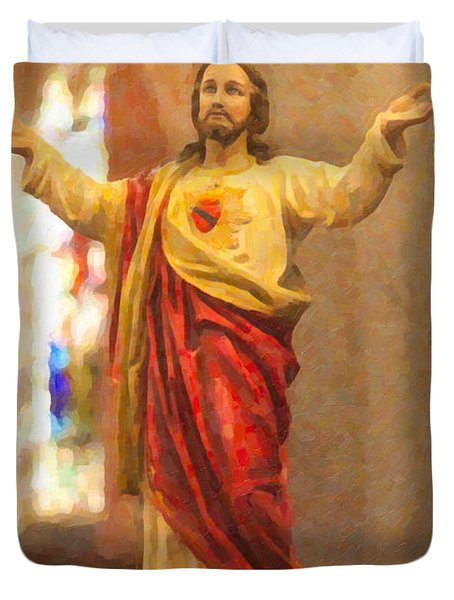 Sacred Heart Of Jesus Duvet Cover by Clarence Holmes