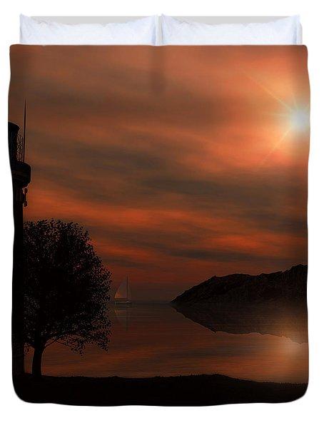 Sail At Dusk Duvet Cover by Lourry Legarde