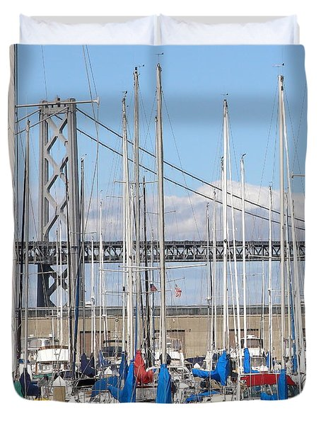 Sail Boats At San Francisco China Basin Pier 42 With The Bay Bridge In The Background . 7d7683 Duvet Cover by Wingsdomain Art and Photography