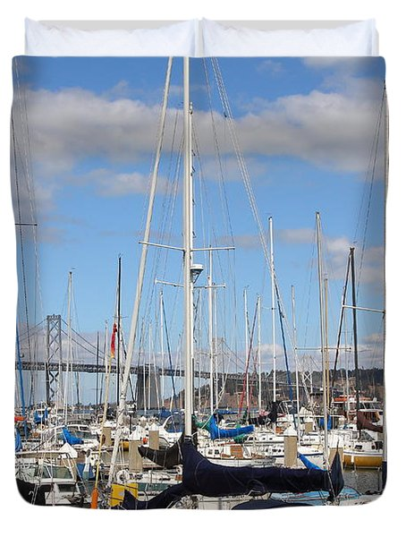 Sail Boats At San Francisco China Basin Pier 42 With The Bay Bridge In The Background . 7d7685 Duvet Cover by Wingsdomain Art and Photography