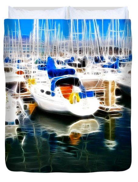 Sail Boats At San Francisco's Pier 42 . Electrified Duvet Cover by Wingsdomain Art and Photography