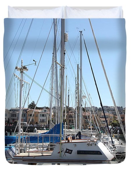 Sail Boats At The San Francisco Marina - 5d18189 Duvet Cover by Wingsdomain Art and Photography