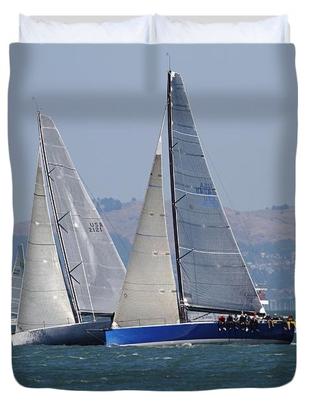 Sail Boats On The San Francisco Bay - 7d18323 Duvet Cover by Wingsdomain Art and Photography