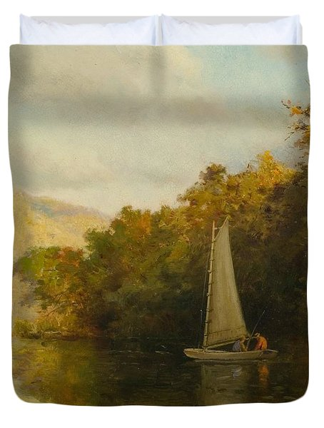 Sailboat On River Duvet Cover by Arthur Quarterly