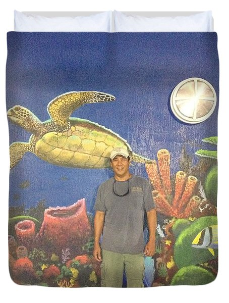 Sailfish Splash Park Mural 7 Duvet Cover by Carey Chen