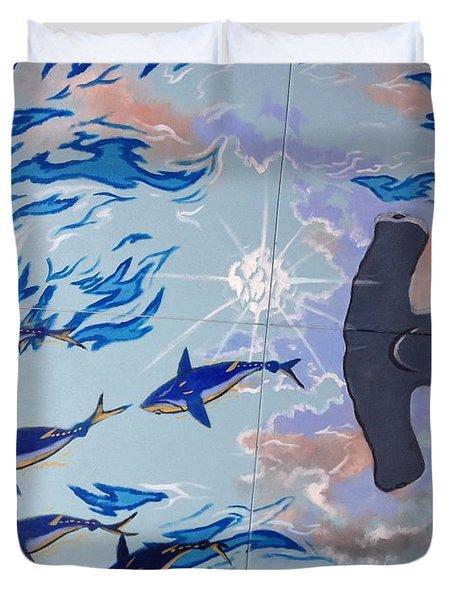 Sailfish Splash Park Mural 8 Duvet Cover by Carey Chen
