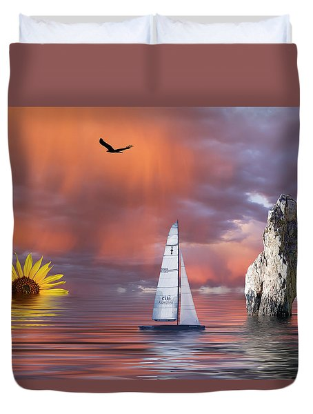 Sailing At Sunset Duvet Cover by Shane Bechler