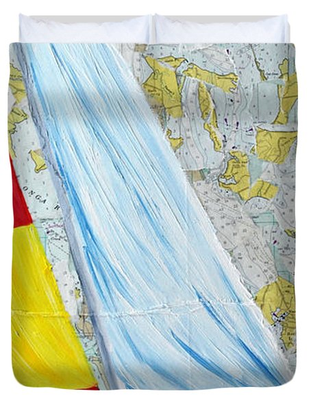 Sailing From The Charts Duvet Cover by Michael Lee