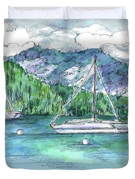 Sailing Lake Tahoe Duvet Cover by Cathie Richardson
