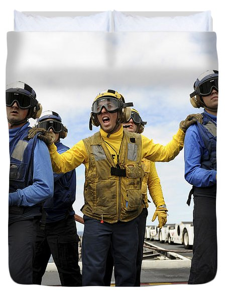 Sailors Fight A Simulated Fire Aboard Duvet Cover by Stocktrek Images
