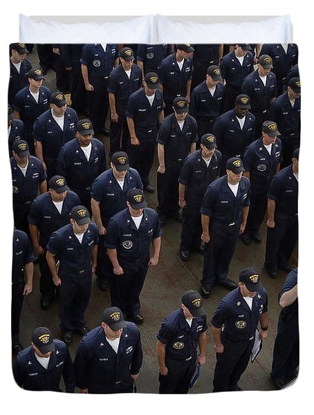Sailors Stand At Attention During An Duvet Cover by Stocktrek Images