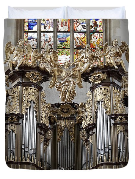 Saint Barbara Church - Organ Loft And Stained Glass In The Churc Duvet Cover by Michal Boubin