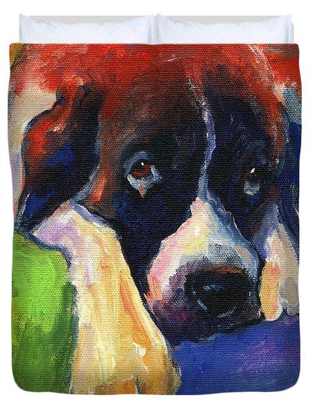 Saint Bernard Dog Colorful Portrait Painting Print Duvet Cover by Svetlana Novikova