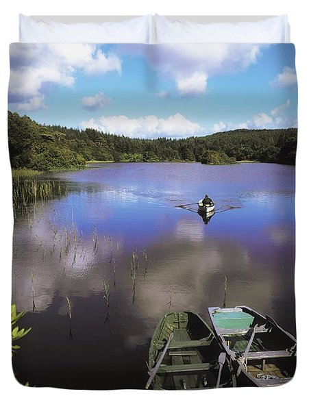 Salmon Fishing, Ballinahinch Duvet Cover by The Irish Image Collection