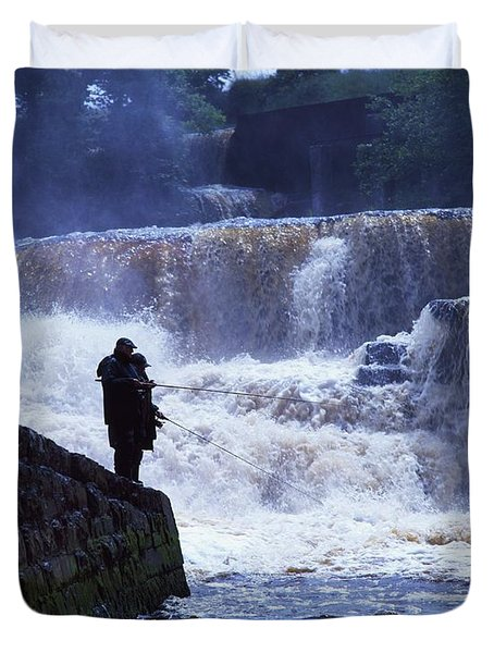 Salmon Fishing, Ballisodare River, Co Duvet Cover by The Irish Image Collection
