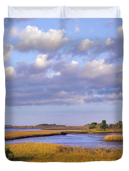 Saltwater Marshes At Cedar Key Florida Duvet Cover by Tim Fitzharris